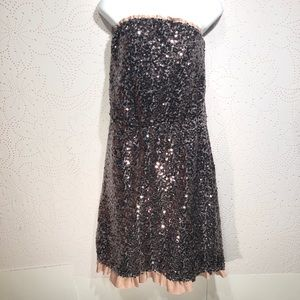 DKNY Strapless Pewter Sequin Dress Satin Ruffles